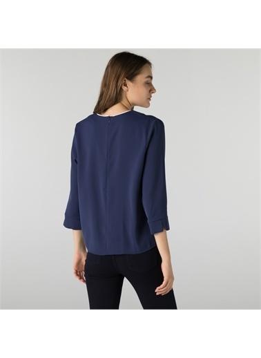 Lacoste Lacoste Kadın Regular Fit Truvakar Kollu V Yaka Lacivert Bluz Lacivert